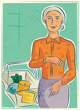 Grocery basket woman